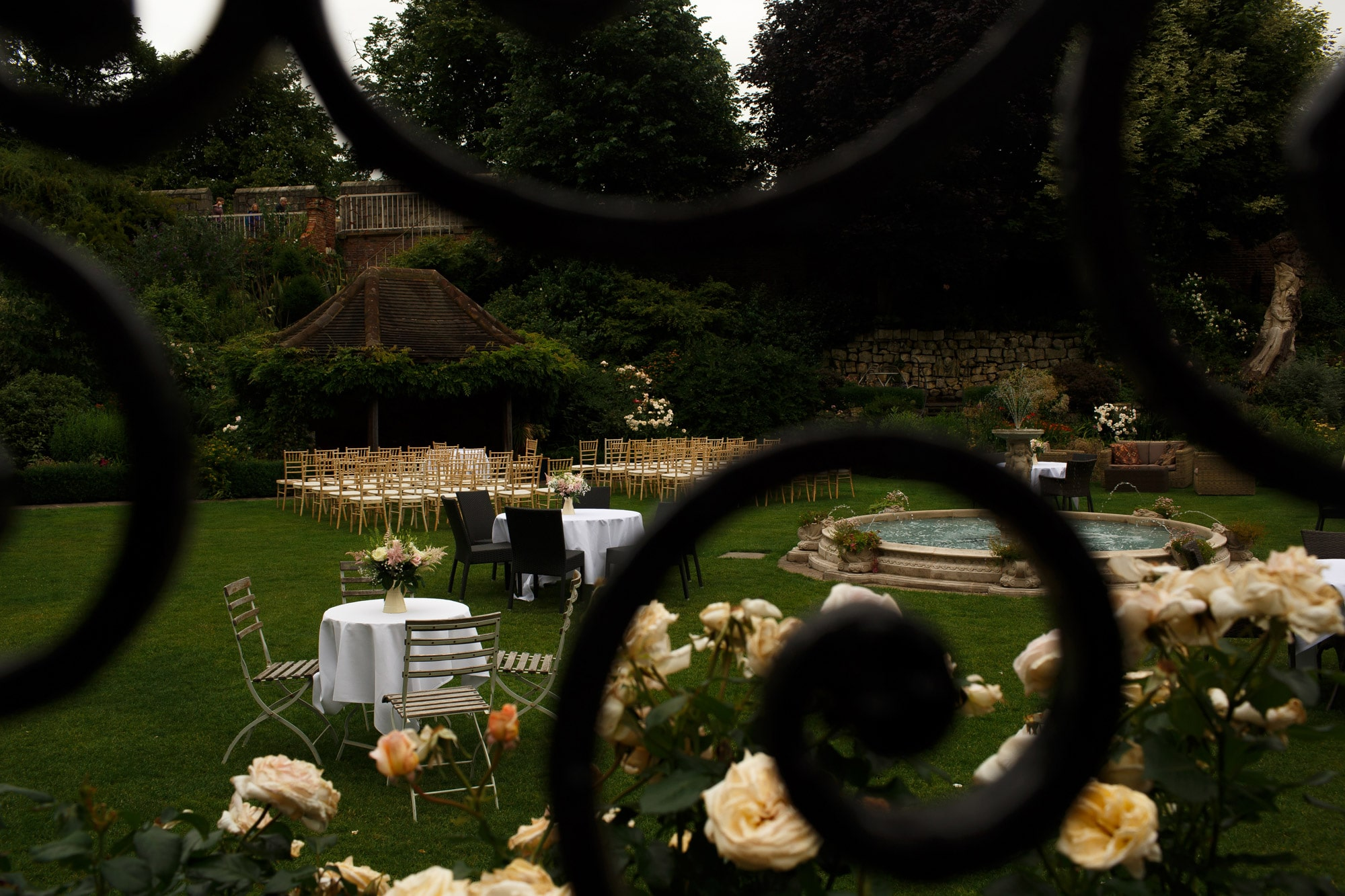 Layout of tables and chairs ready for outdoor ceremony at grays court wedding
