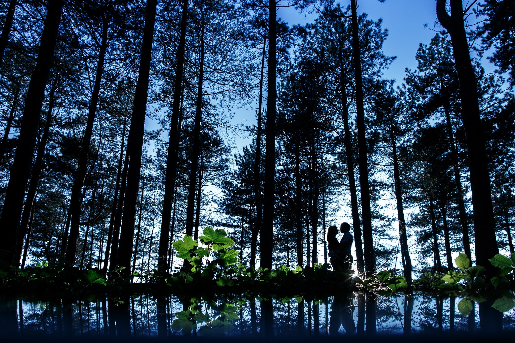 Creative silhouette of couple hidden in the forest at Formby Point