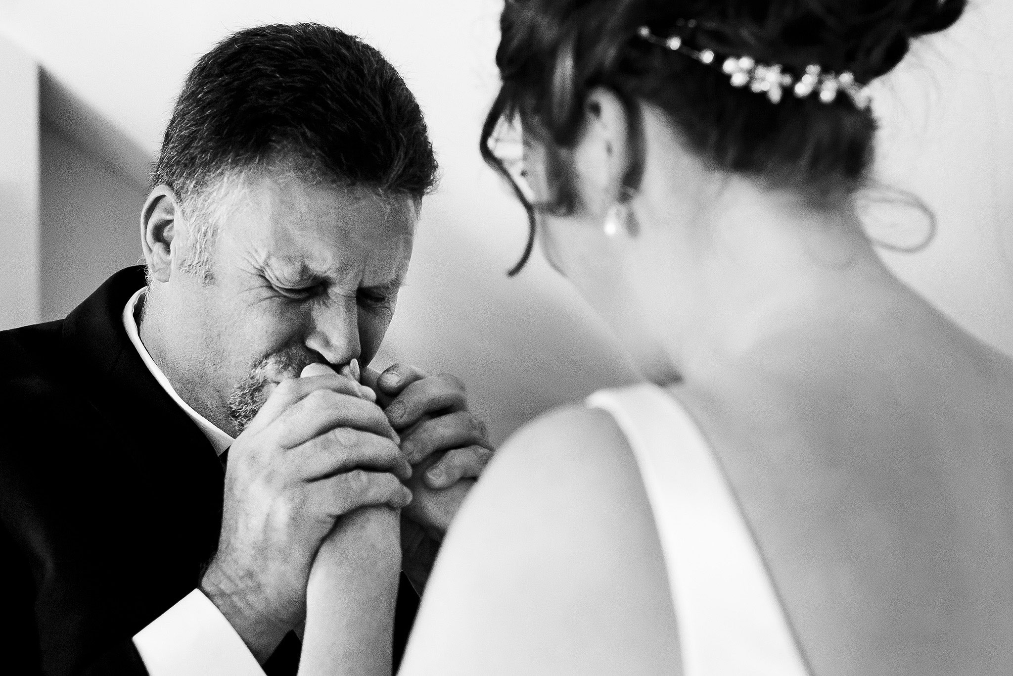 Fathers emotional reaction as he sees bride in wedding dress for the first time