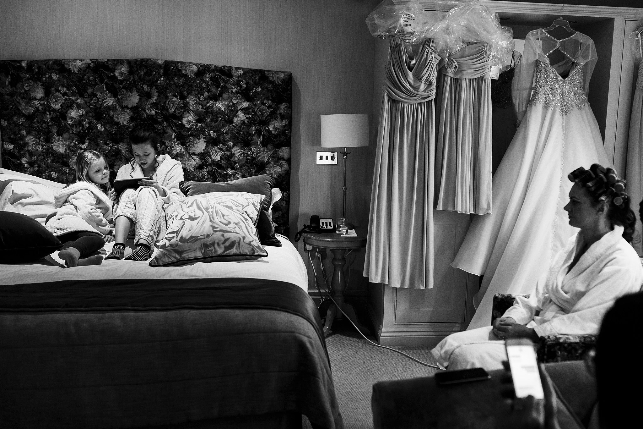 Children playing on the bed in Stanley House Hotel Bridal Suite