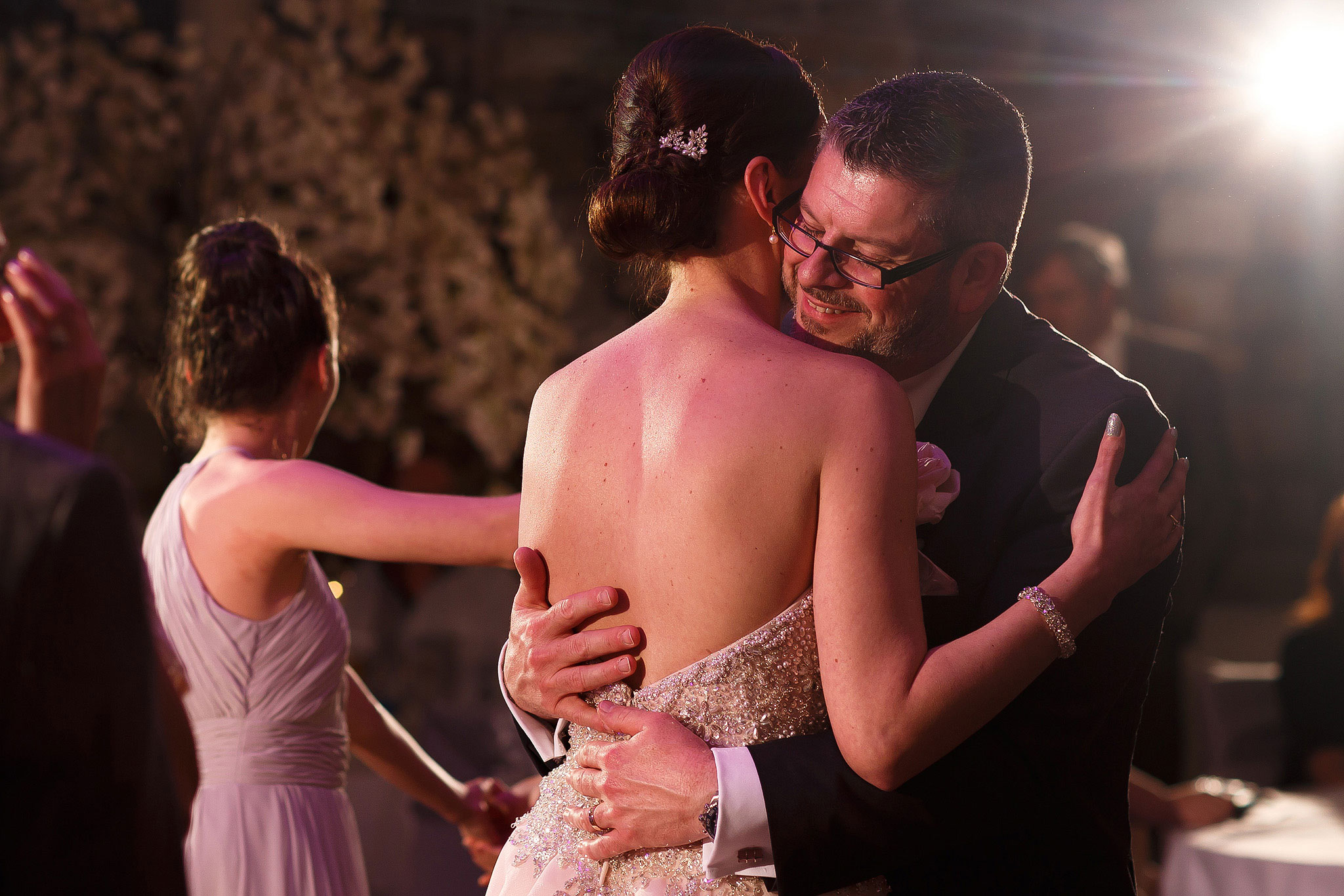 Bride and groom first dance at Stanley House Hotel wedding reception