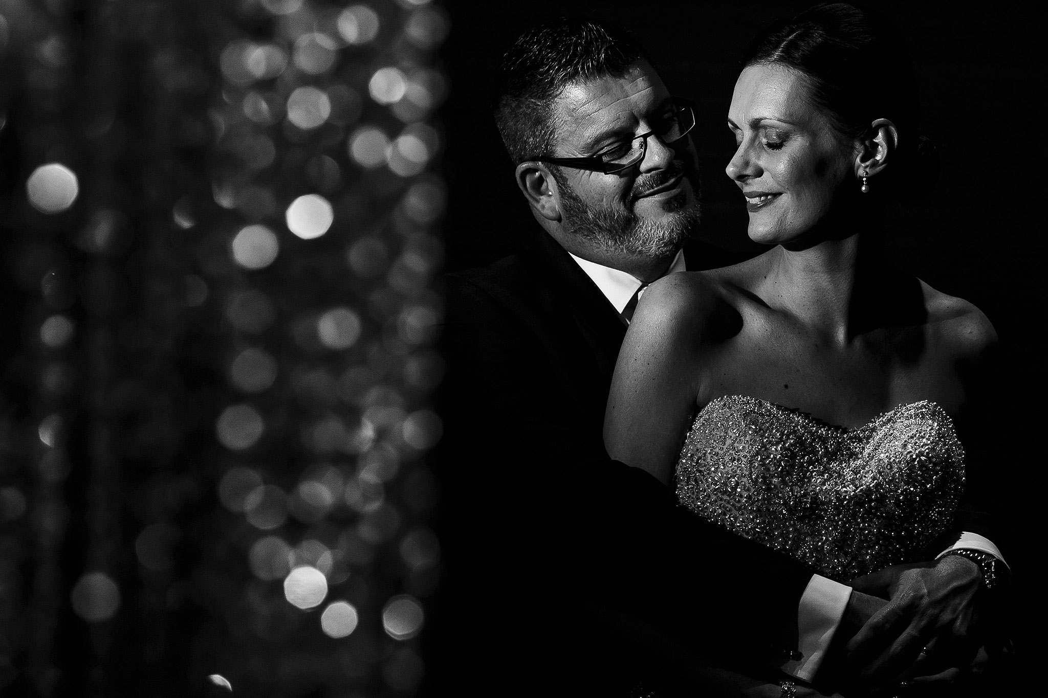 Creative wedding portrait using off camera flash at Stanley House Hotel wedding reception