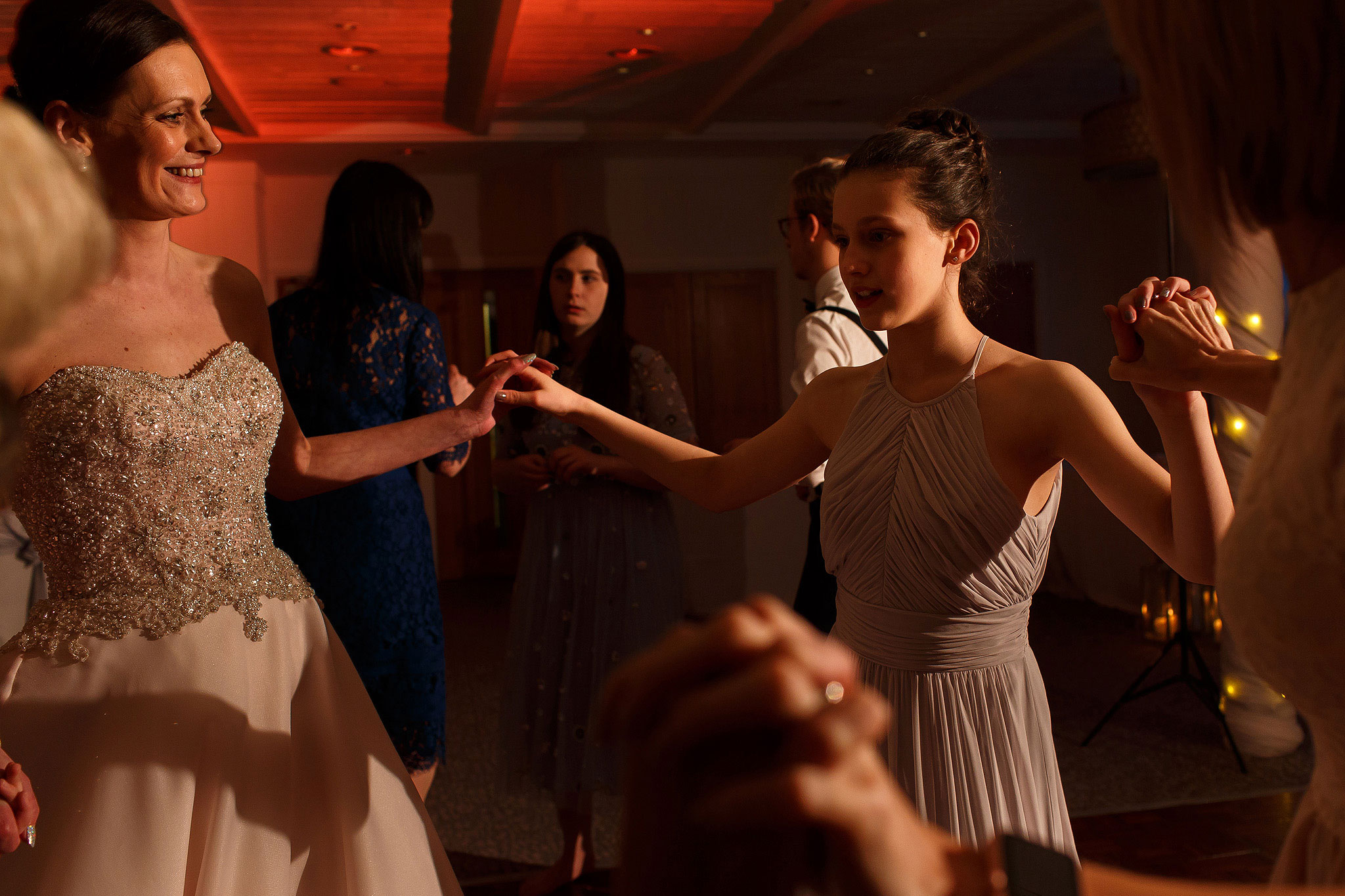 Guests dancing at Stanley House Hotel wedding reception