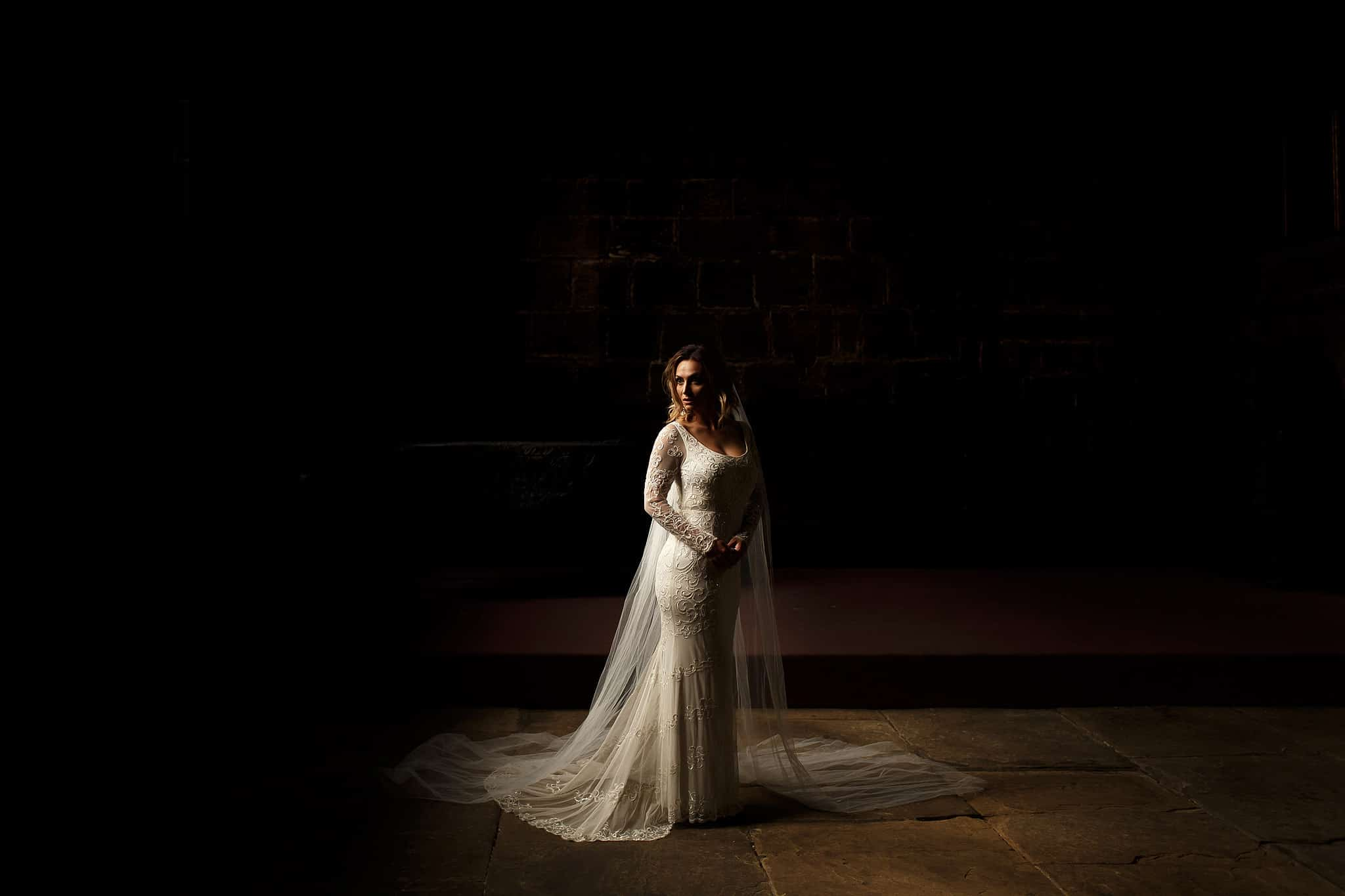 Bride in natural light wearing long sleeved beaded dress with floor length wedding veil