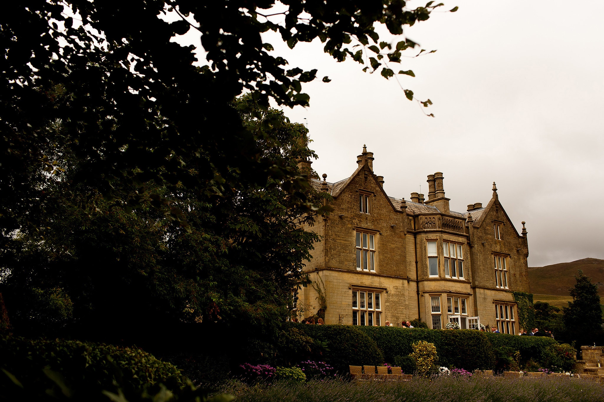 Photograph of wedding venue Falcon Manor taken from the gardens