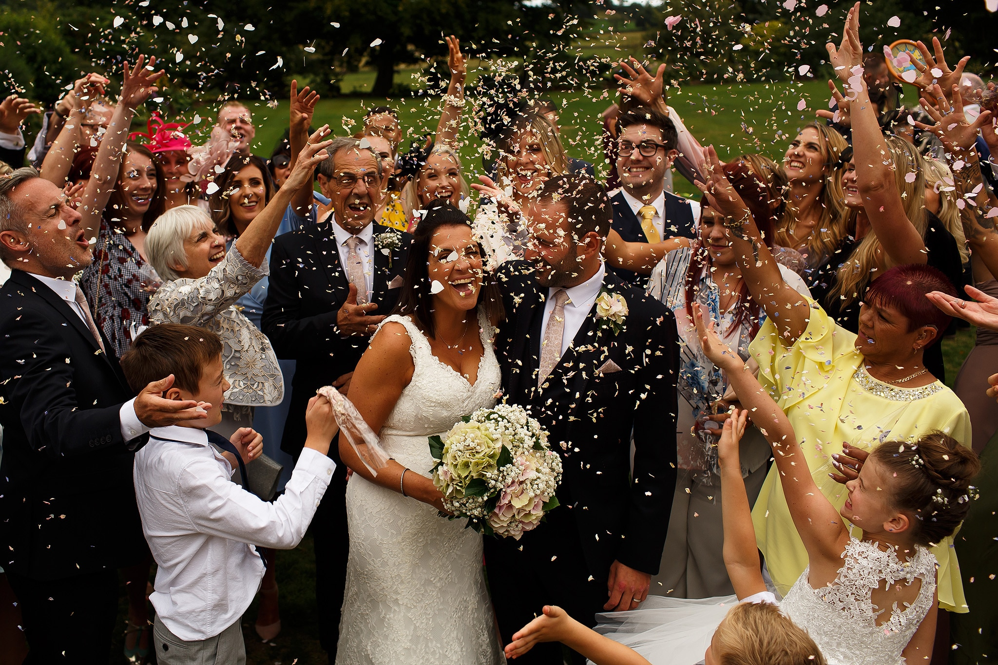 Confetti at Falcon Manor wedding