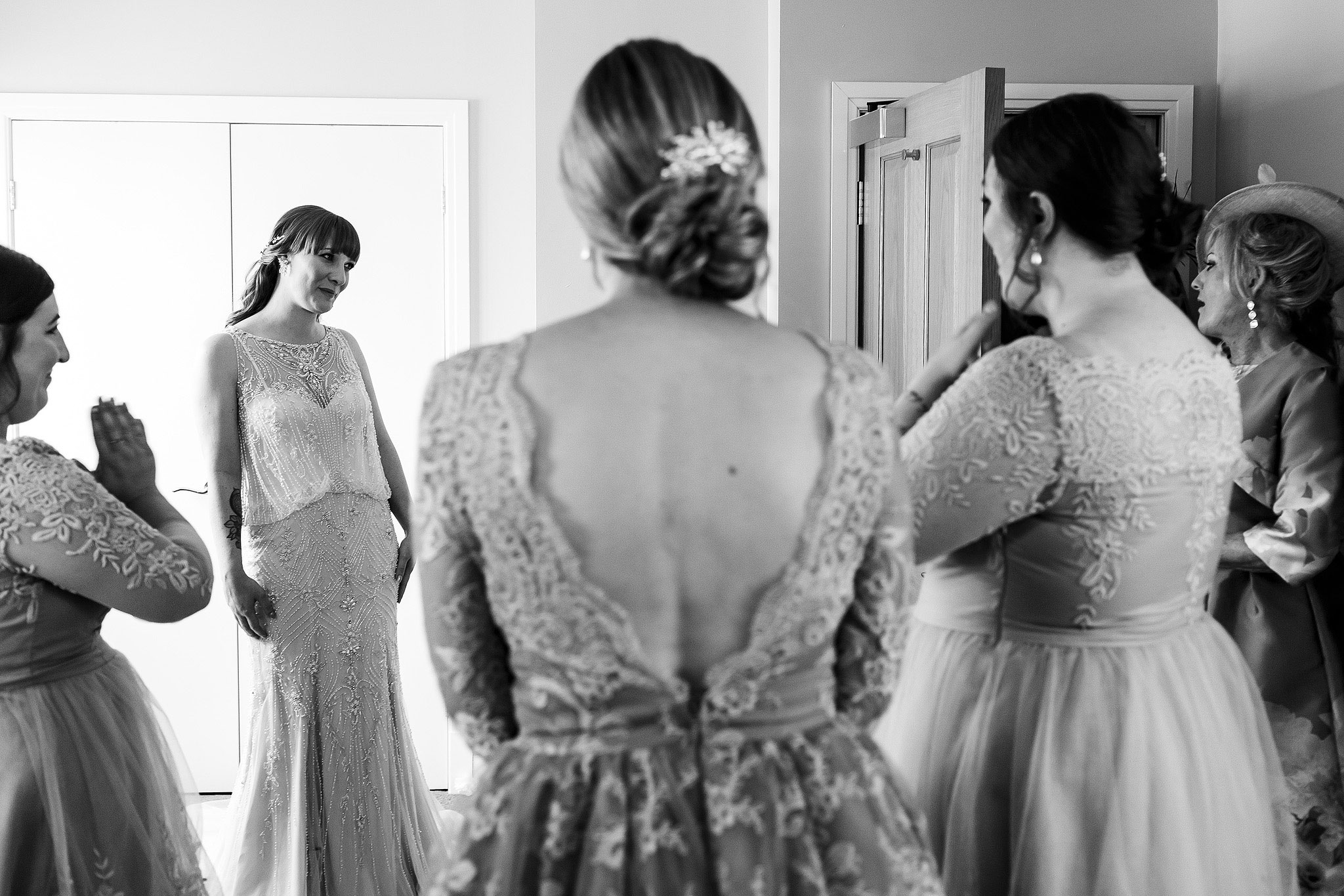 The reactions of family as they see bride in her beaded wedding down for the first time - The Villa at Wrea Green Wedding Photography - Toni Darcy Photography