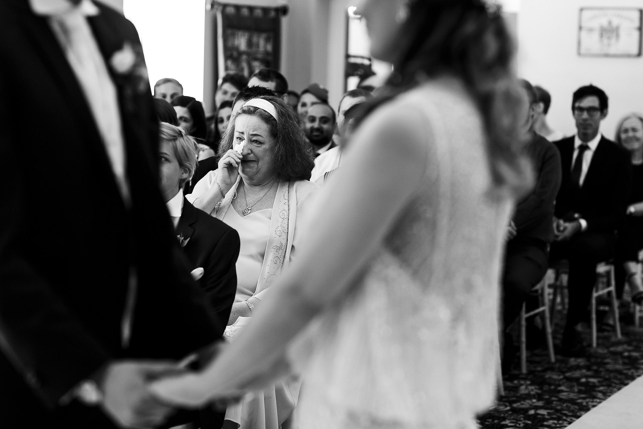 Emotional guests during wedding ceremony - The Villa at Wrea Green Wedding Photography - Toni Darcy Photography