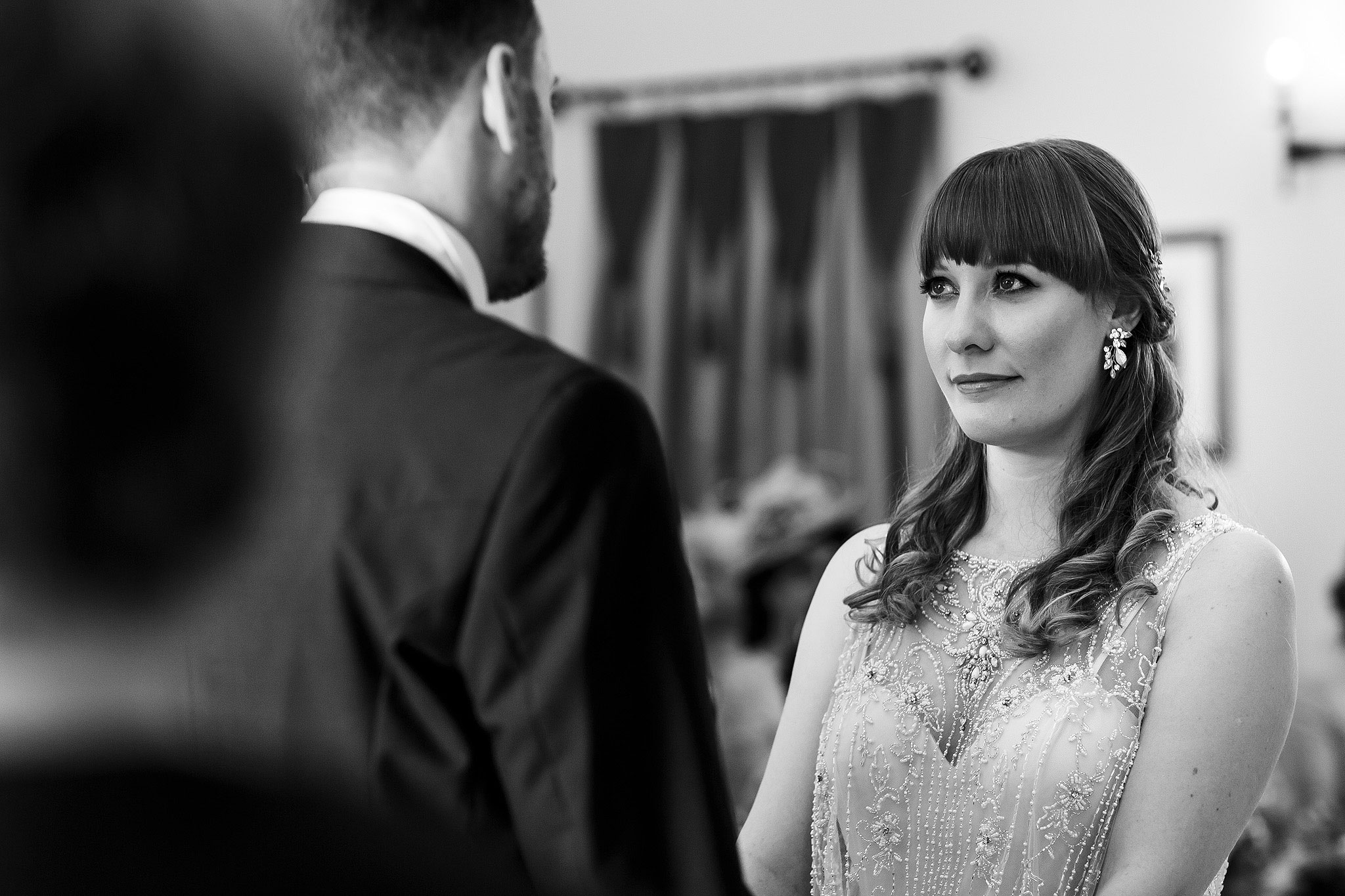 Bride with fringe and beaded wedding gown - The Villa at Wrea Green Wedding Photography - Toni Darcy Photography