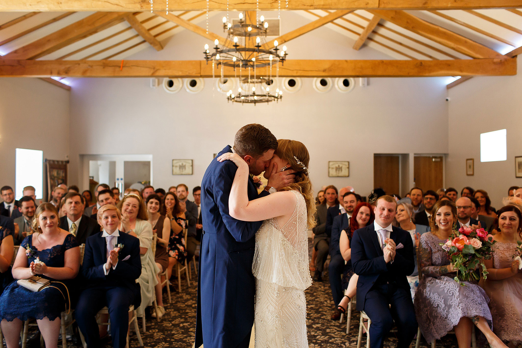 Bride and Grooms first kiss during wedding ceremony - The Villa at Wrea Green Wedding Photography - Toni Darcy Photography