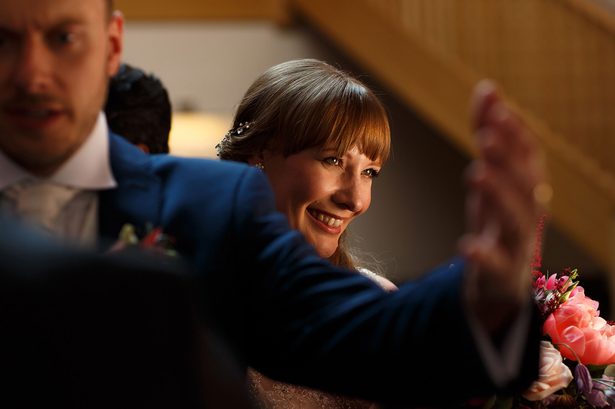Bride with fringe smiling - The Villa at Wrea Green Wedding Photography - Toni Darcy Photography