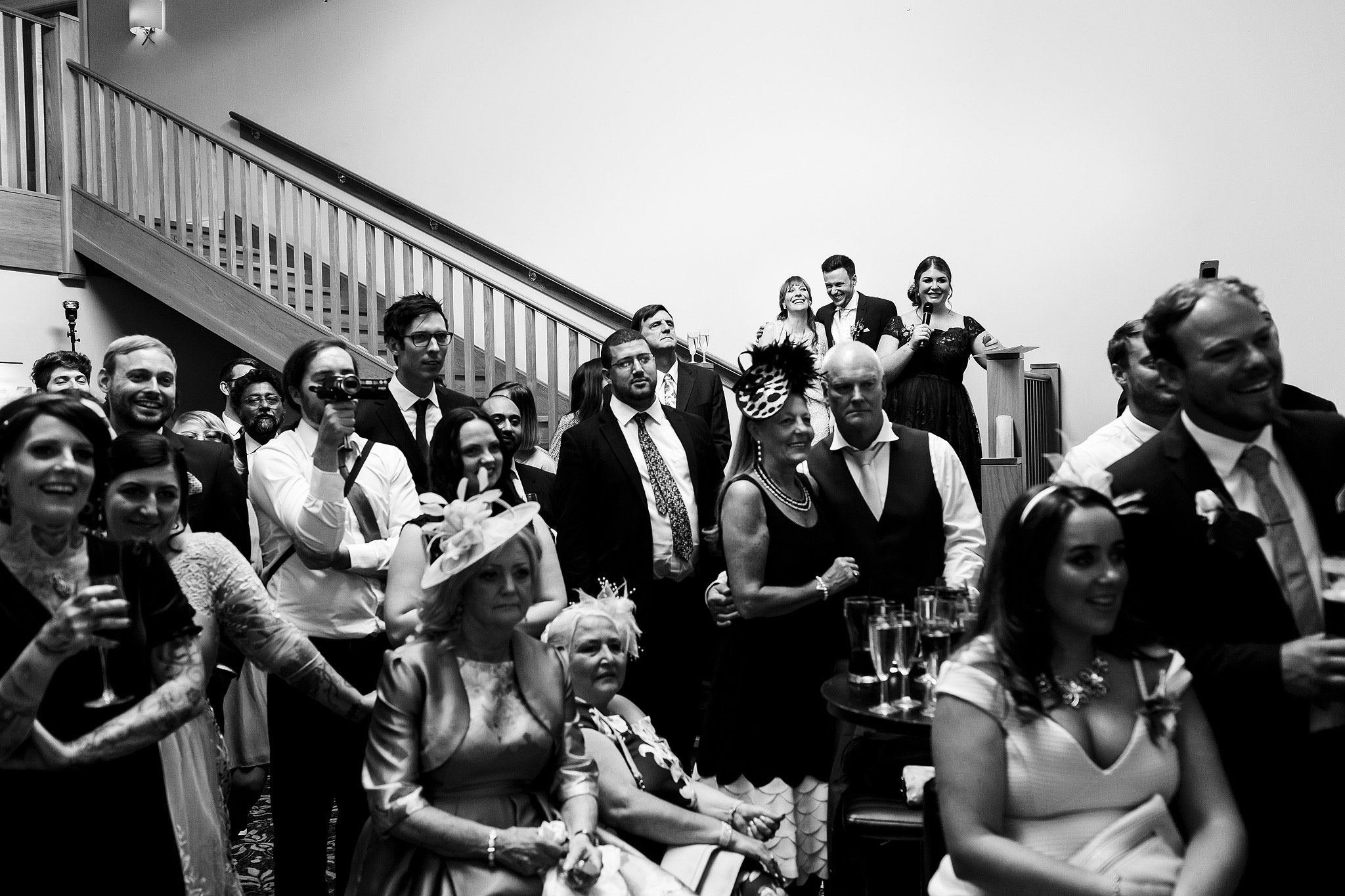 Wedding guests laughing during speeches - The Villa at Wrea Green Wedding Photography - Toni Darcy Photography