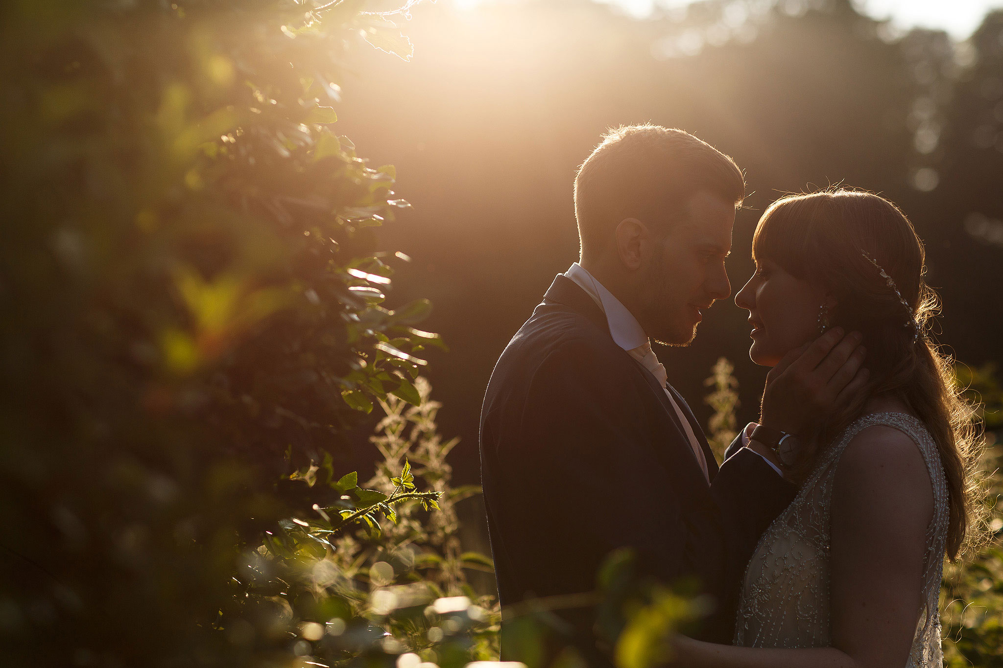 Bride and groom wedding day portraits in gorgeous sunlight in the gardens - The Villa at Wrea Green Wedding Photography - Toni Darcy Photography