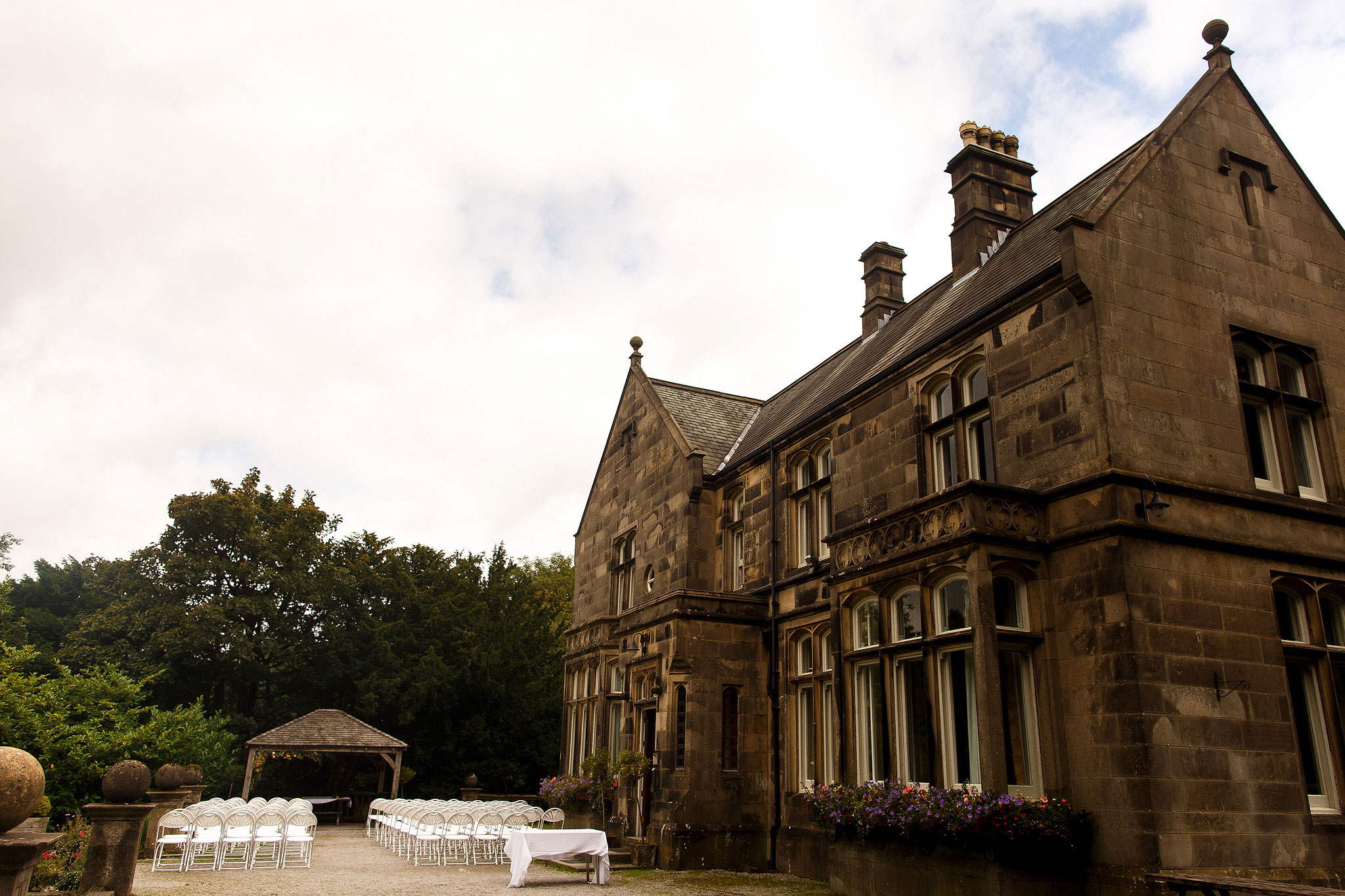 Outdoor seating for wedding ceremony | Hargate Hall Wedding Photography