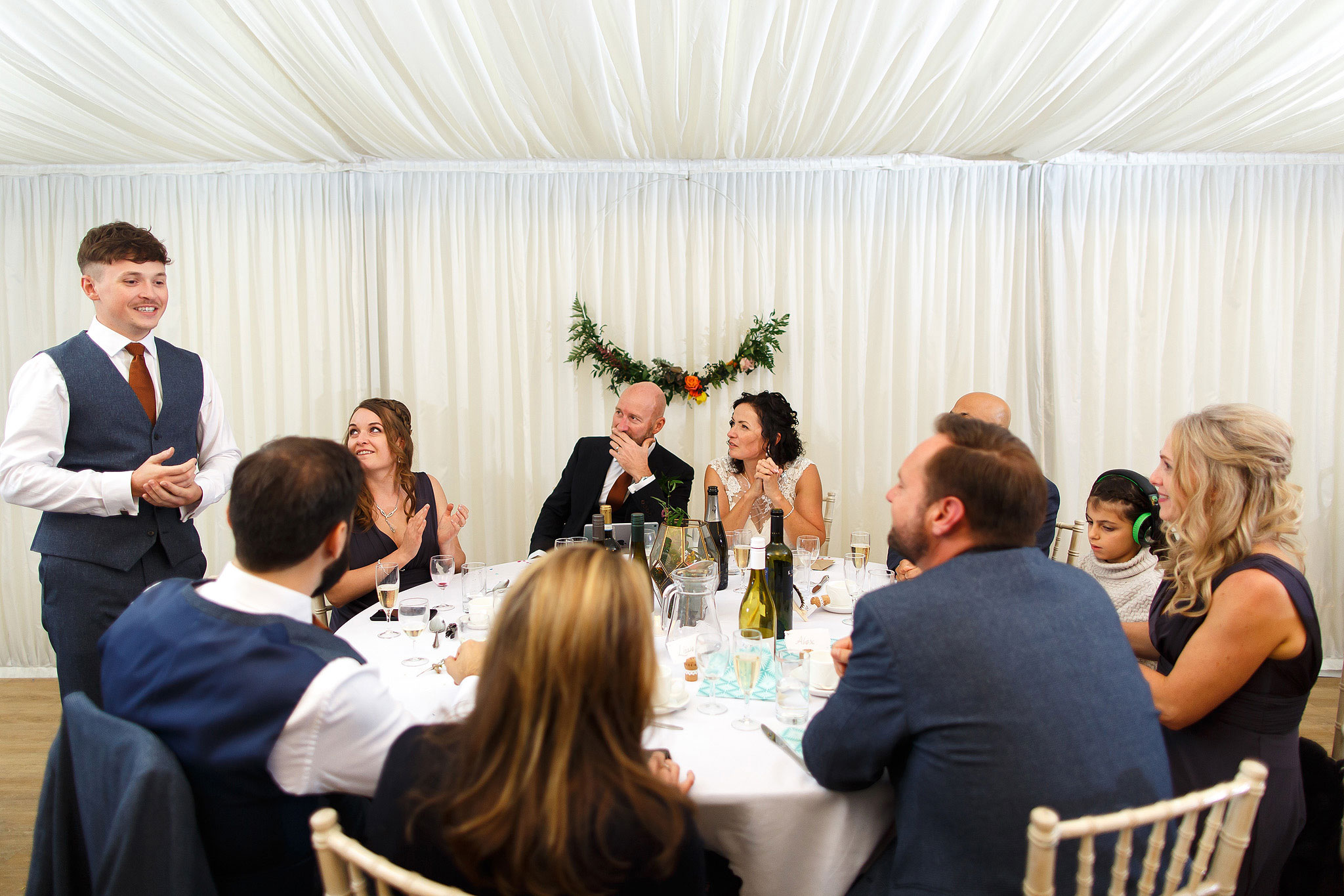 Round top table during wedding speeches | Hargate Hall Wedding Photography
