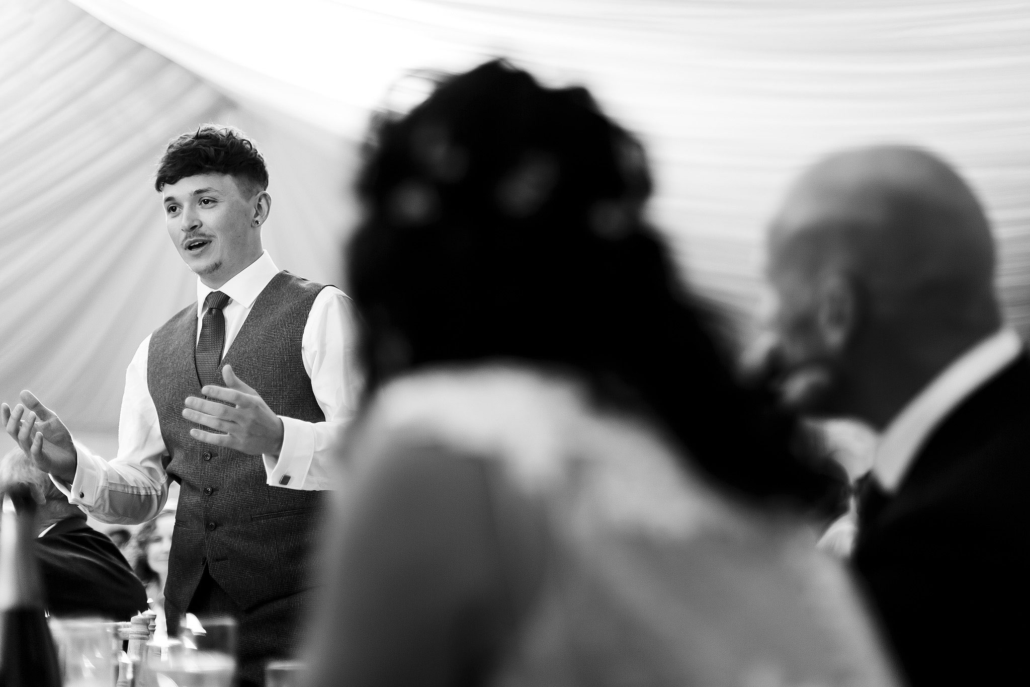 Speeches inside marquee | Hargate Hall Wedding Photography