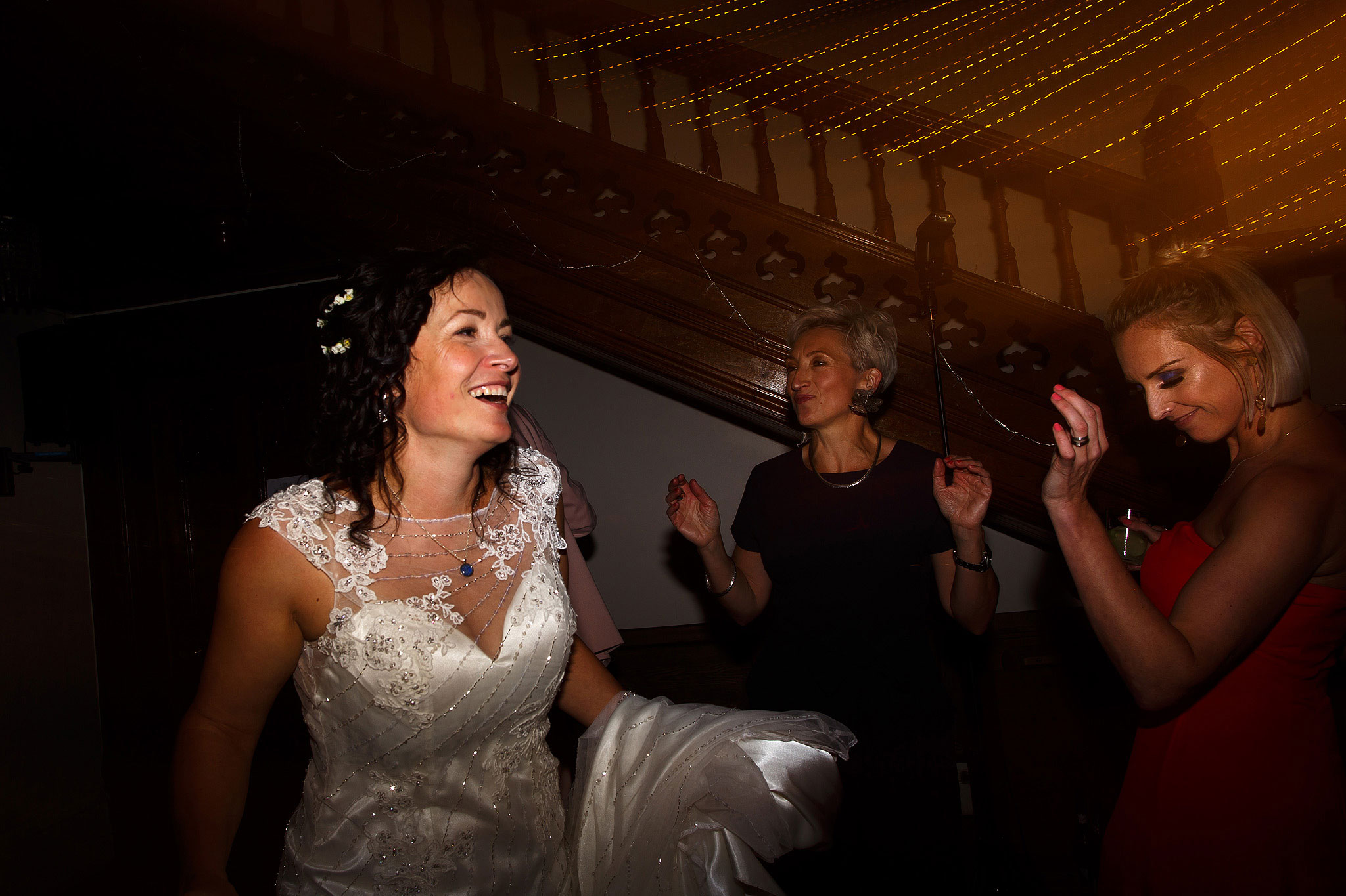 Wedding guests dancing inside | Hargate Hall Wedding Photography
