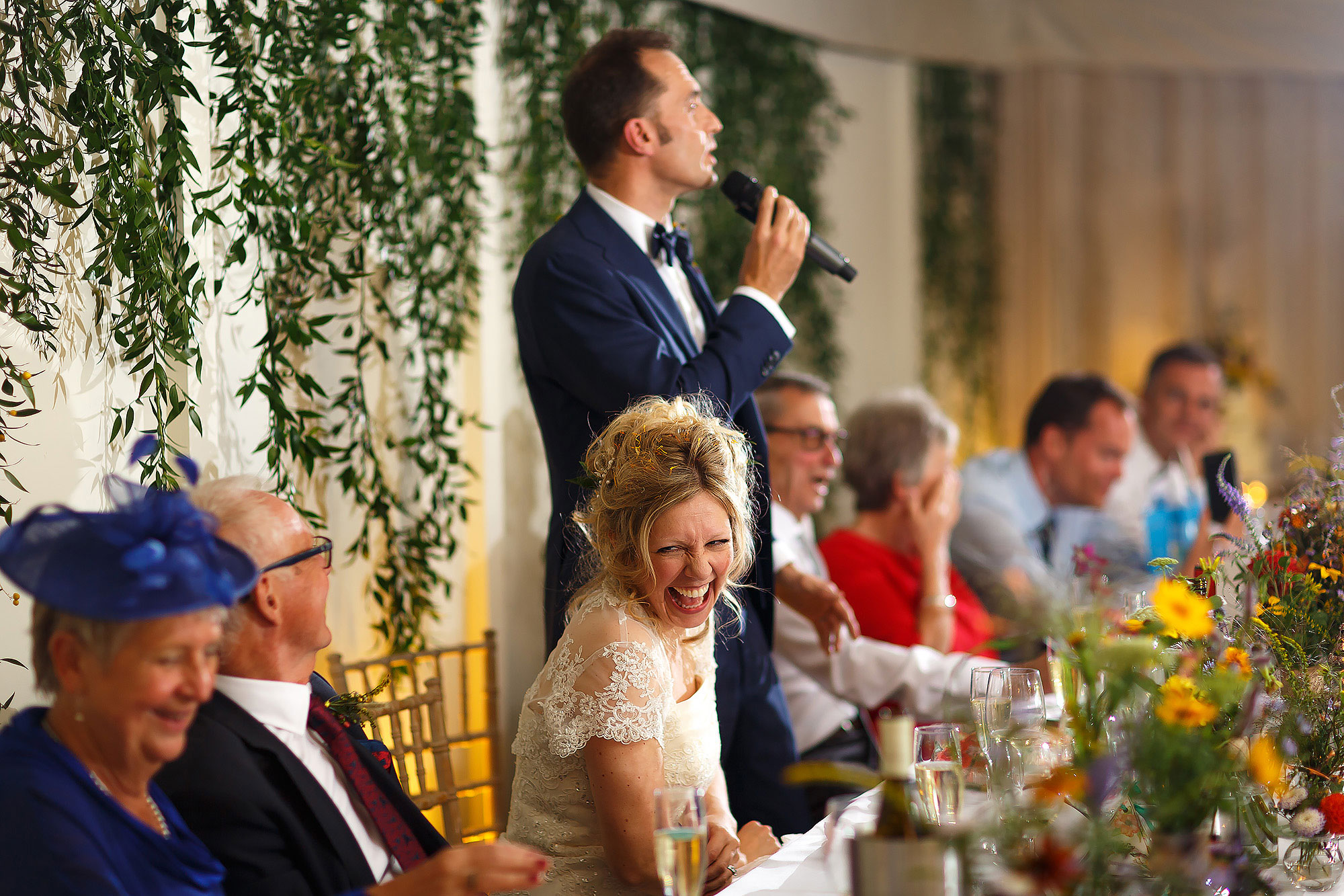Wedding Speeches in the Pavillion at Combermere Abbey Wedding