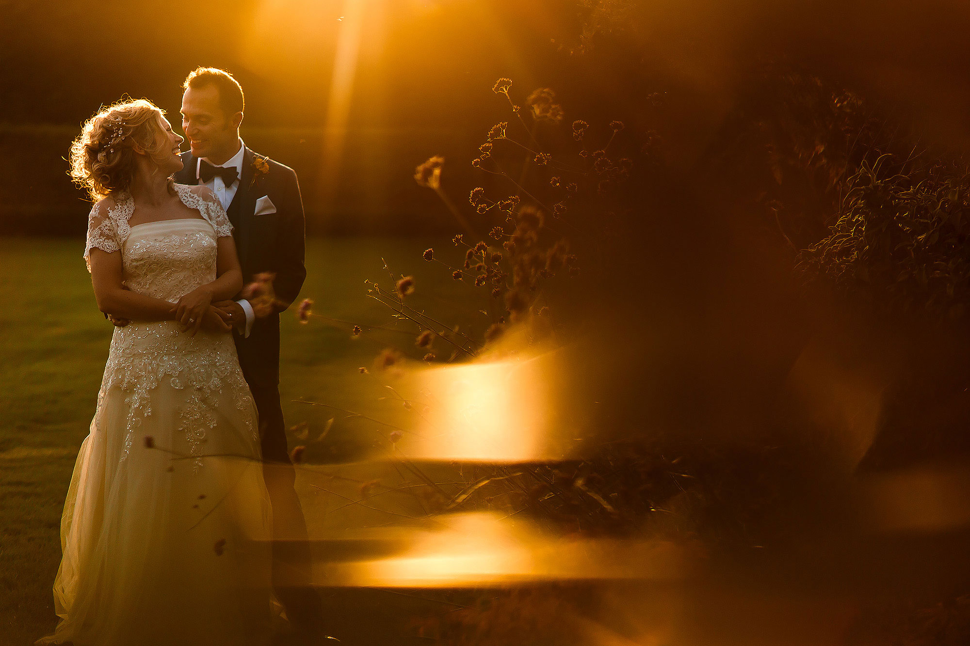 Sunset wedding photographs in the gardens of Combermere Abbey
