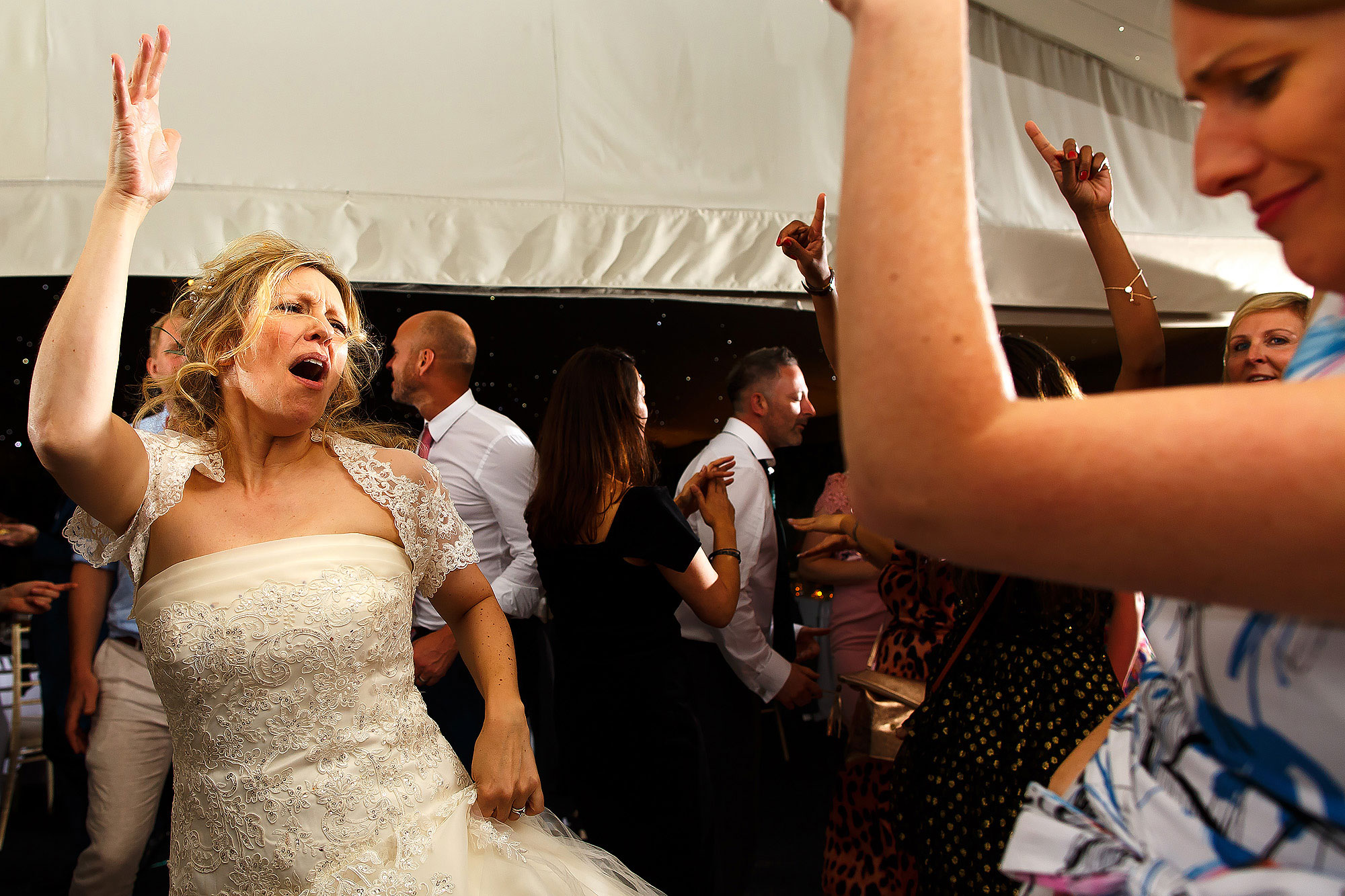 Wedding guests dancing in the Pavillion at Combermere Abbey Wedding