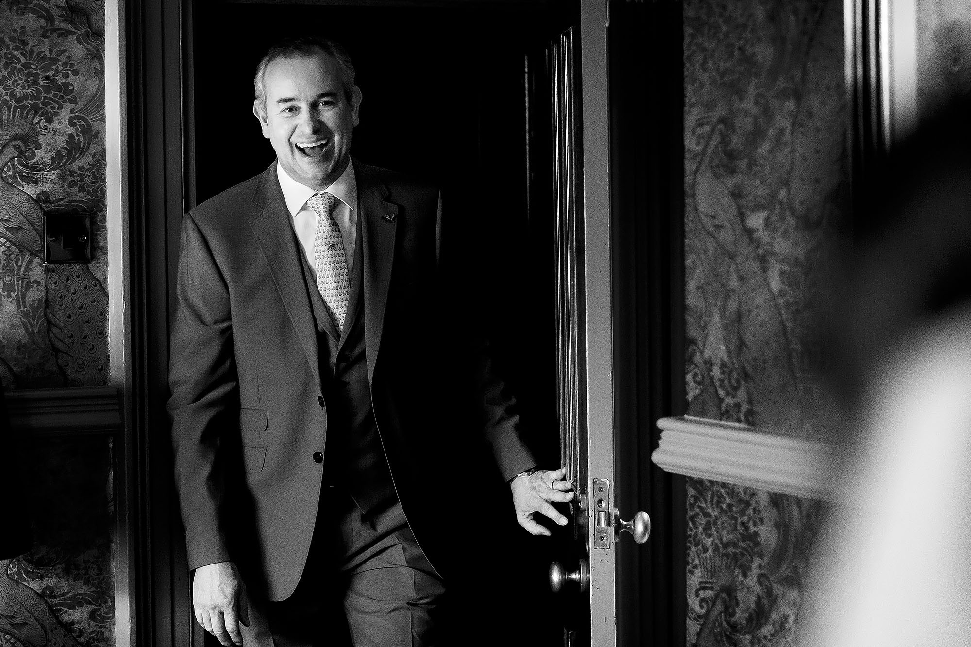 Dad entering the room to see his daughter in her wedding dress | Mitton Hall wedding photographs by Toni Darcy Photography