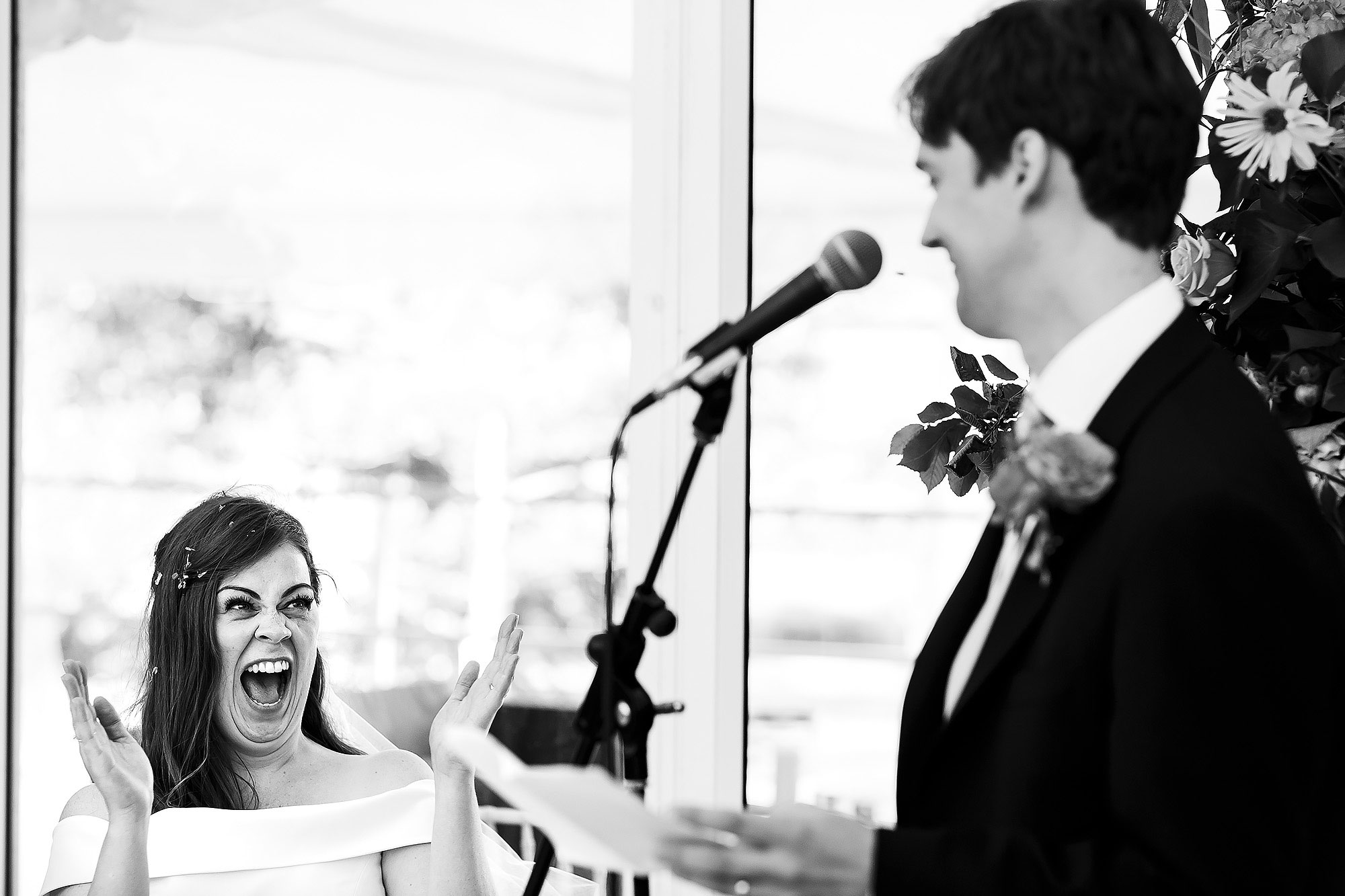 Brides over excited reaction to grooms wedding speech | Lake District Wedding by Toni Darcy Photography