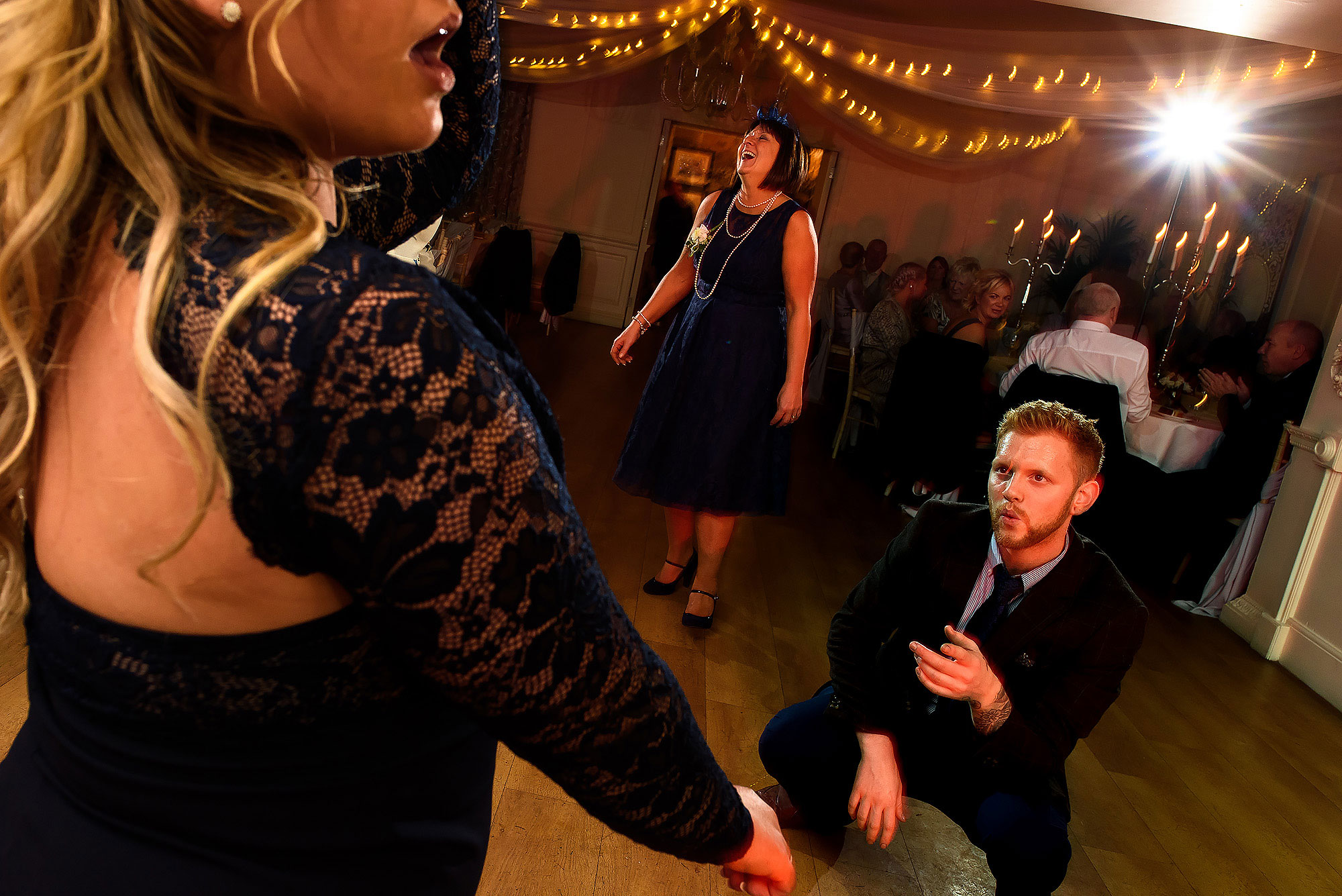 Wedding guests on the dance floor | Eaves Hall wedding photography by Toni Darcy