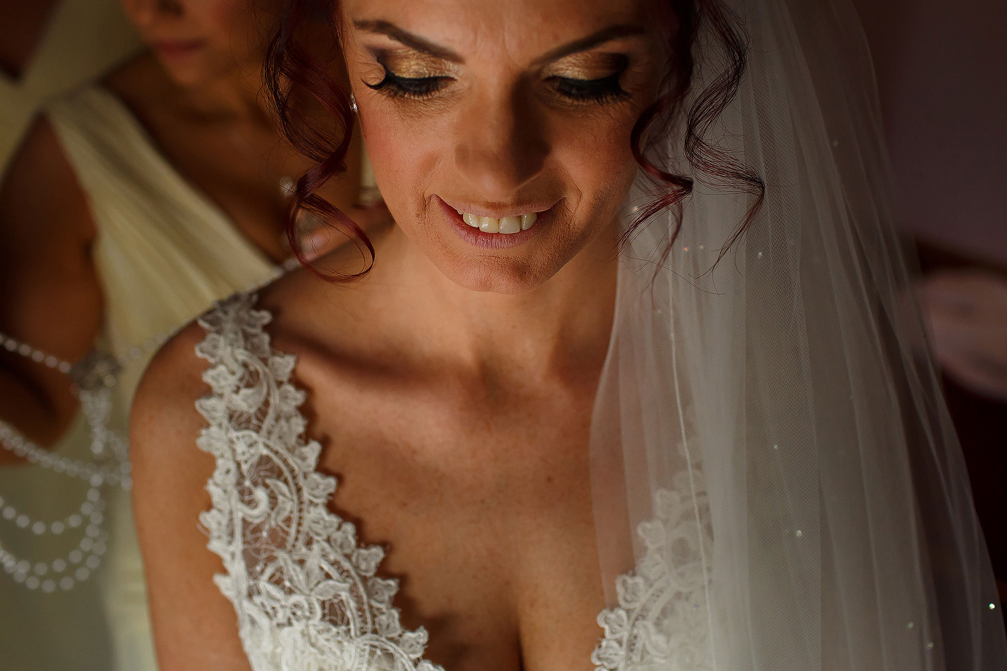 Bride with lace wedding dress and long eyelashes | Summer wedding at Wellbeing Farm - Toni Darcy Photography