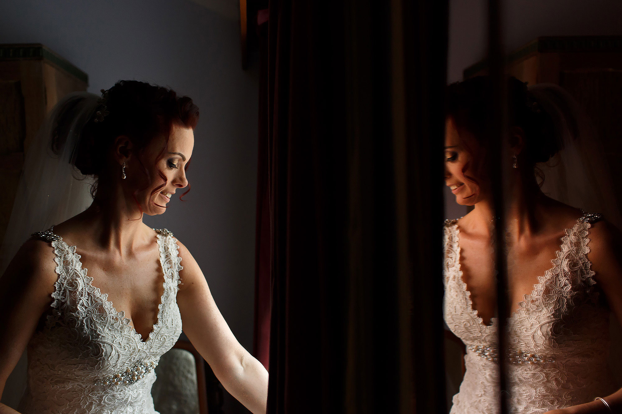 Bride with red hair wearing lace wedding dress | Summer wedding at Wellbeing Farm - Toni Darcy Photography