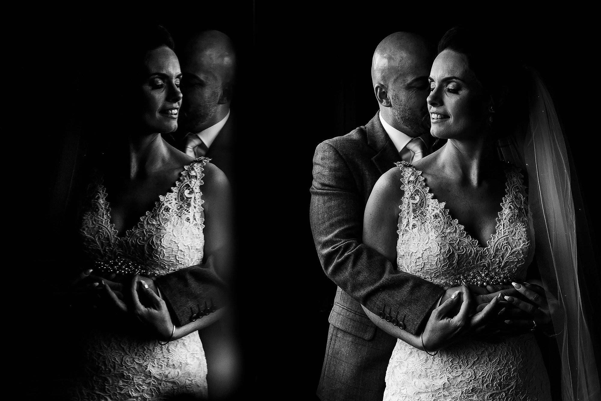 Groom with bald head holding his bride in his arms as she wears lace wedding dress | Summer wedding at Wellbeing Farm - Toni Darcy Photography