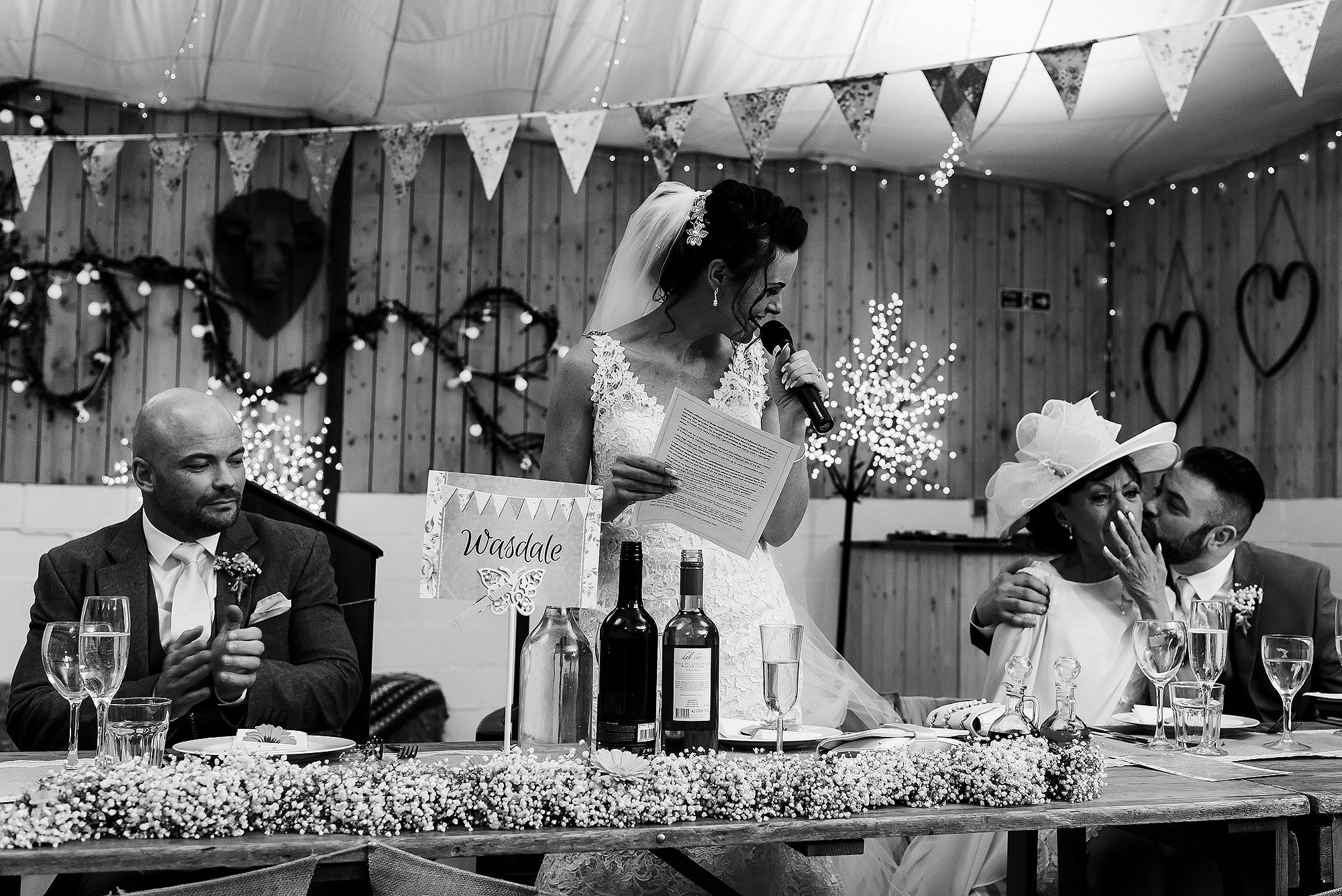 Bride delivering a speech during the wedding reception | Summer wedding at Wellbeing Farm - Toni Darcy Photography